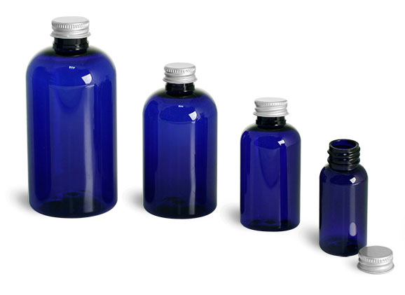 Plastic Bottles, Blue PET Boston Round Bottles w/ Lined Aluminum Caps