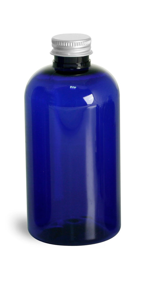 8 oz Blue PET Round Bottles w/ Lined Aluminum Caps