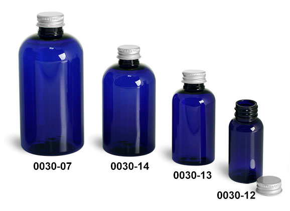 Plastic Bottles, Blue PET Boston Round Bottles With Lined Aluminum Caps