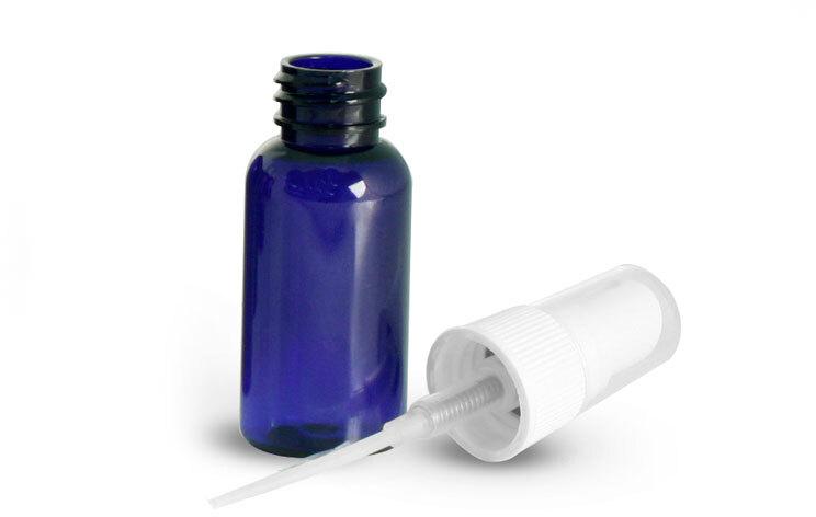 Blue PET Boston Round Bottles w/ White Fine Mist Sprayers