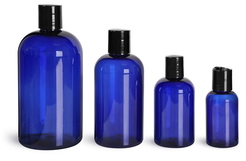 Plastic Bottles, Blue PET Boston Round Bottles w/ Black Disc Top Caps