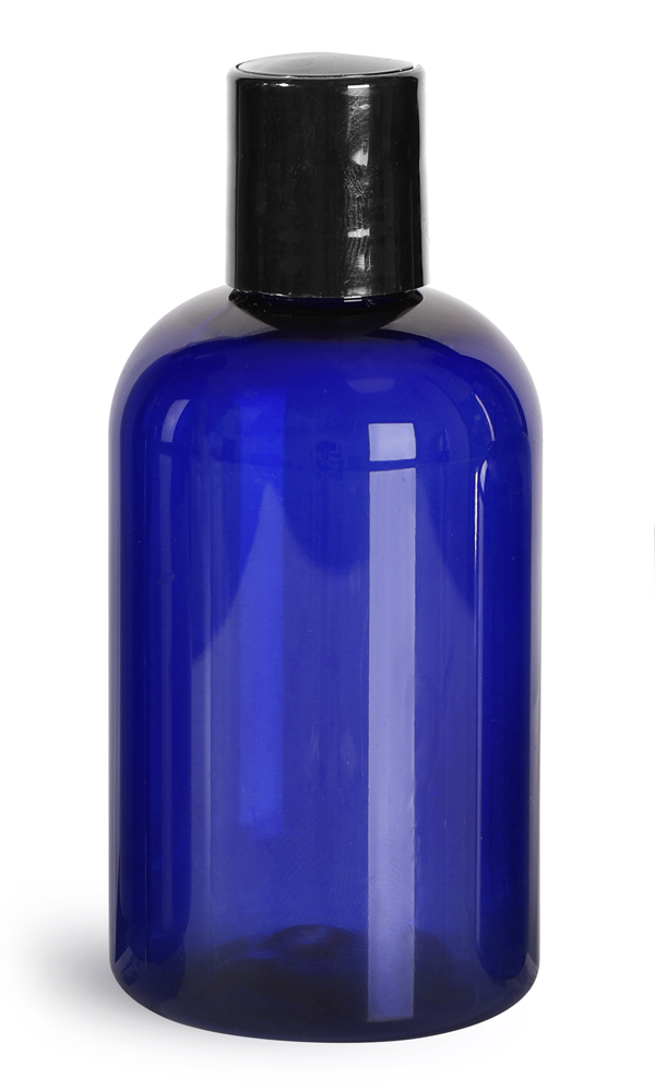 4 oz Blue PET Boston Round Bottles w/ Black Disc Top Caps
