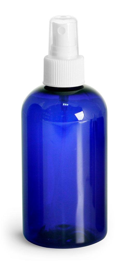 4 oz Blue PET Boston Round Bottles w/ White Fine Mist Sprayers