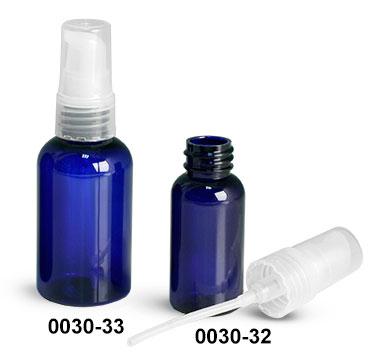 Plastic Bottles, Blue PET Boston Round Bottles w/ Natural Treatment Pumps