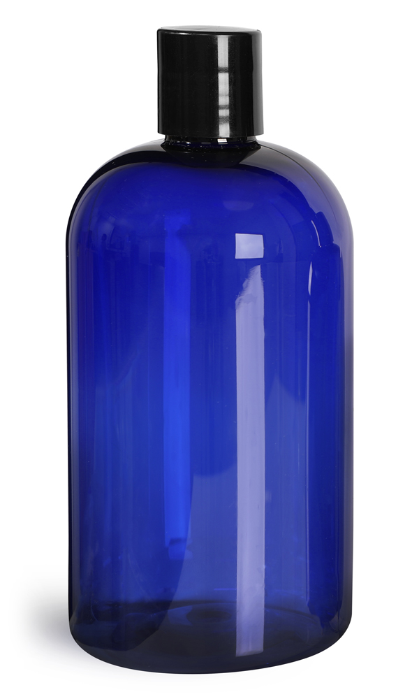16 oz Blue PET Boston Round Bottles w/ Black Disc Top Caps