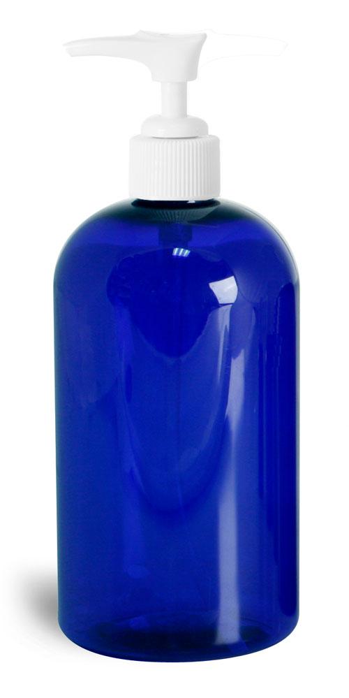 16 oz Blue PET Round Bottles w/ White Pumps