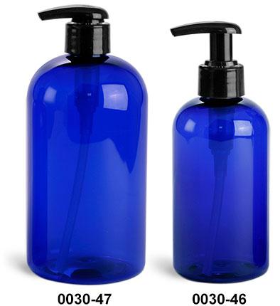 Plastic Bottles, Blue PET Boston Round Bottles w/ 2 Cc Black Lotion Pumps