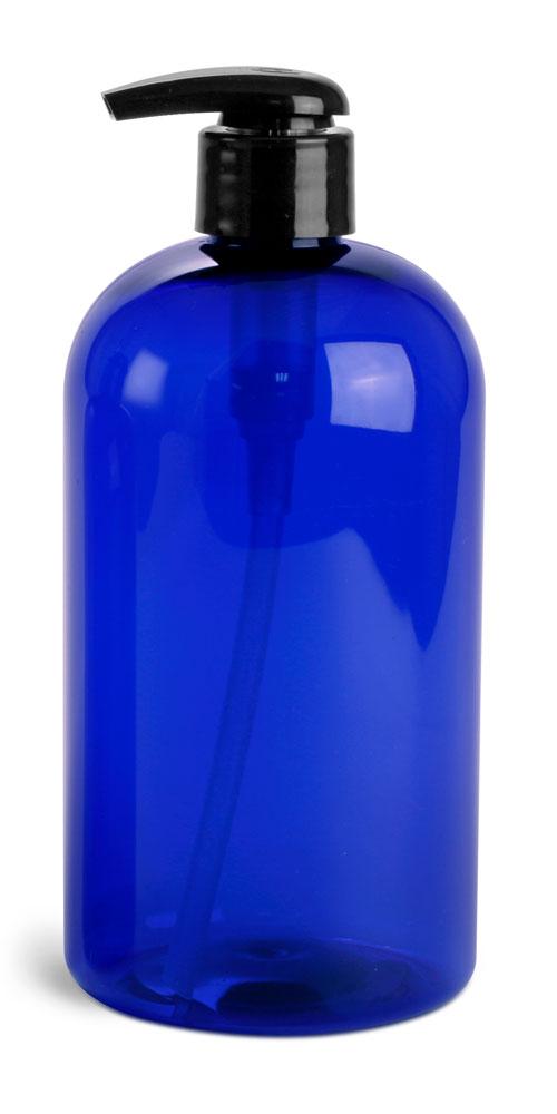 16 oz Blue PET Boston Rounds w/ 2 cc Black Lotion Pumps
