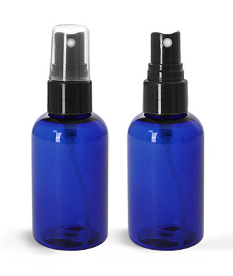 Plastic Bottles, Blue PET Boston Round Bottles w/ Smooth Black Fine Mist Sprayers