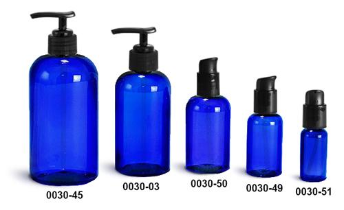 Plastic Bottles, Blue PET Boston Round Bottles w/ Black Pumps