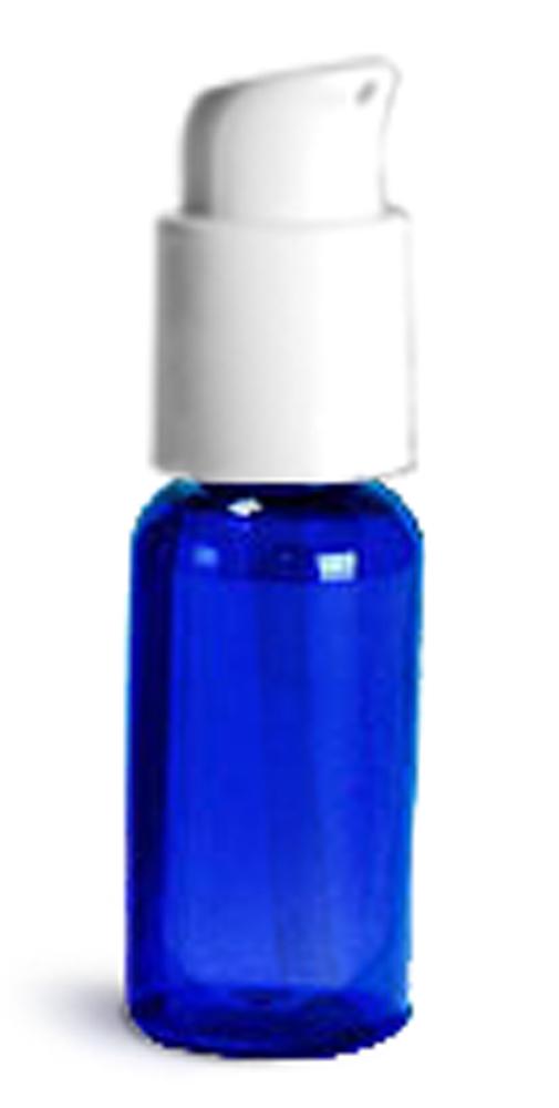 1 oz  Blue PET Boston Round Bottles w/ White Treatment Pumps