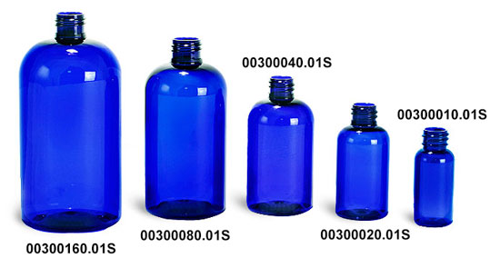 Blue PET Boston Round Plastic Bottles (Bulk), Caps NOT Included