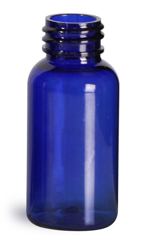 1 oz Blue PET Boston Round Bottles (Bulk), Caps NOT Included