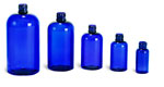 Blue PET Boston Round Bottles (Bulk), Caps NOT Included