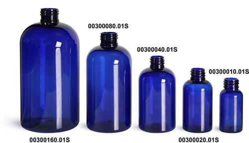 Blue PET Boston Round Plastic Bottles (Bulk), Caps NOT Included