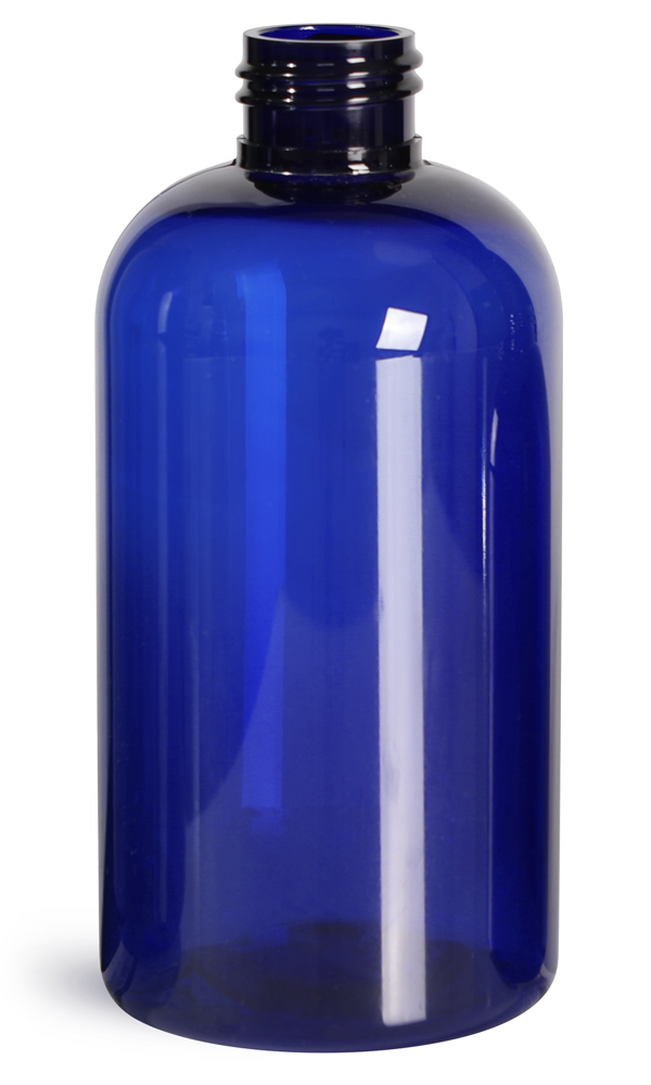 8 oz Blue PET  Boston Round Bottles (Bulk), Caps NOT Included