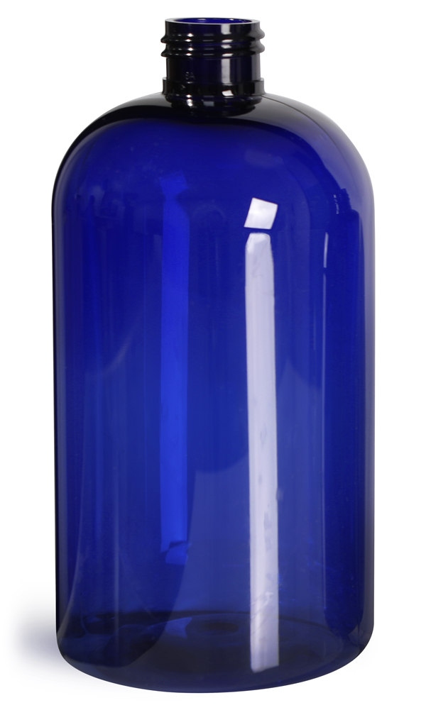 16 oz Blue PET  Boston Round Bottles (Bulk), Caps NOT Included