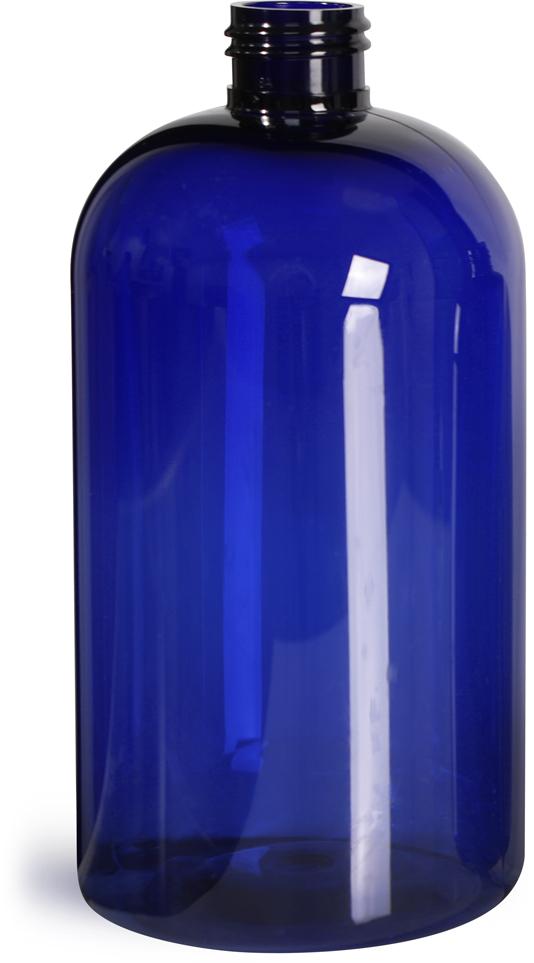 Blue PET  Boston Round Bottles (Bulk), Caps NOT Included