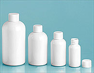 PET Plastic Bottles, White Boston Round Bottles w/ White Ribbed Polypro Caps