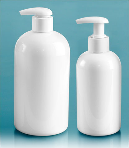 PET Plastic Bottles, White Boston Round Bottles w/ 2 cc White Lotion Pumps