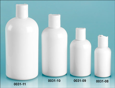 Plastic Bottles, White PET Round Bottles w/ White Disc Top Caps