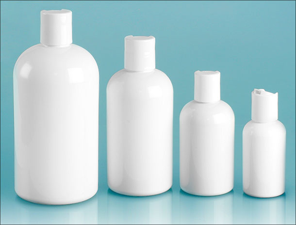 PET Plastic Bottles, White Boston Round Bottles w/ White Disc Top Caps