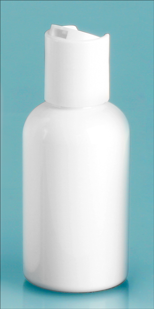 2 oz White PET Round Bottles w/ White Disc Top Caps