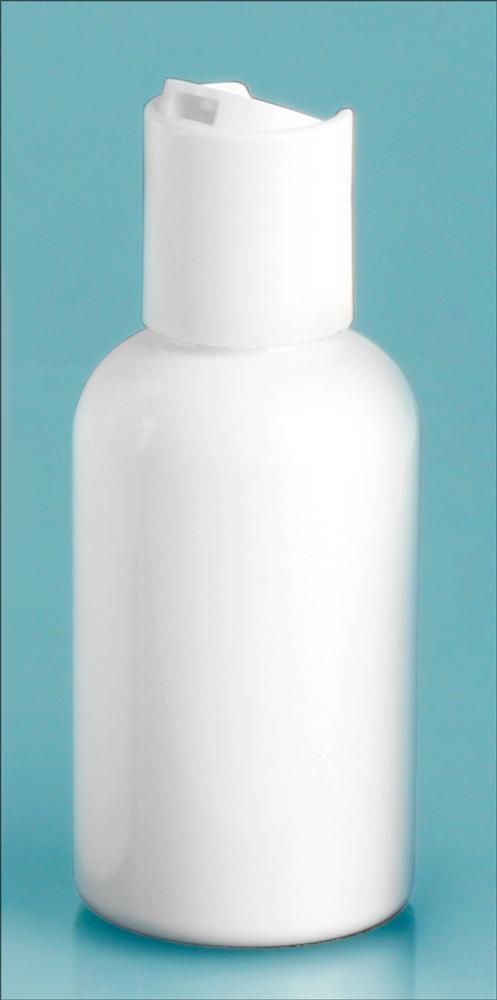 White PET Round Bottles w/ White Disc Top Caps