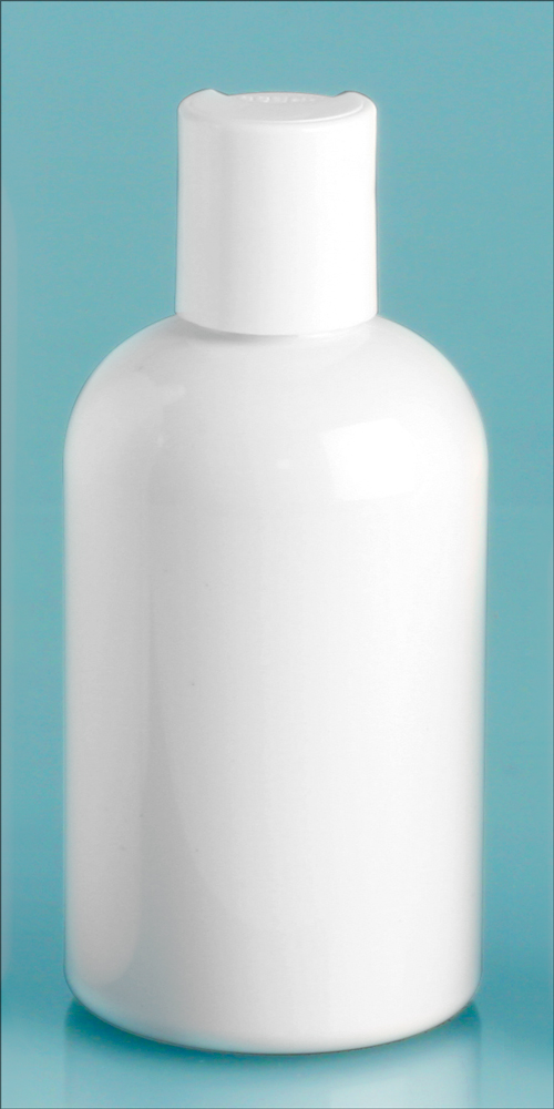 4 oz White PET Round Bottles w/ White Disc Top Caps