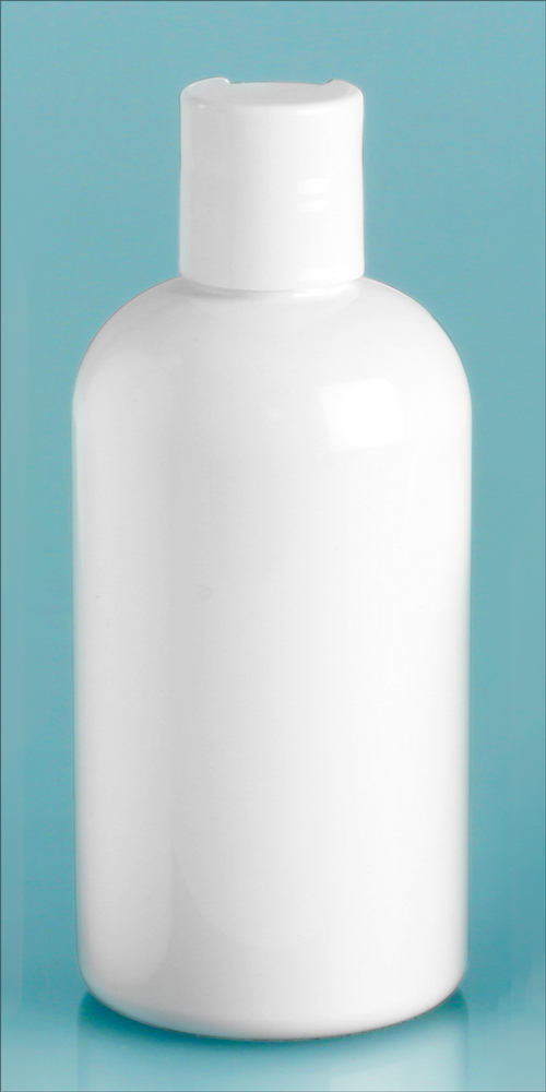 8 oz White PET Round Bottles w/ White Disc Top Caps