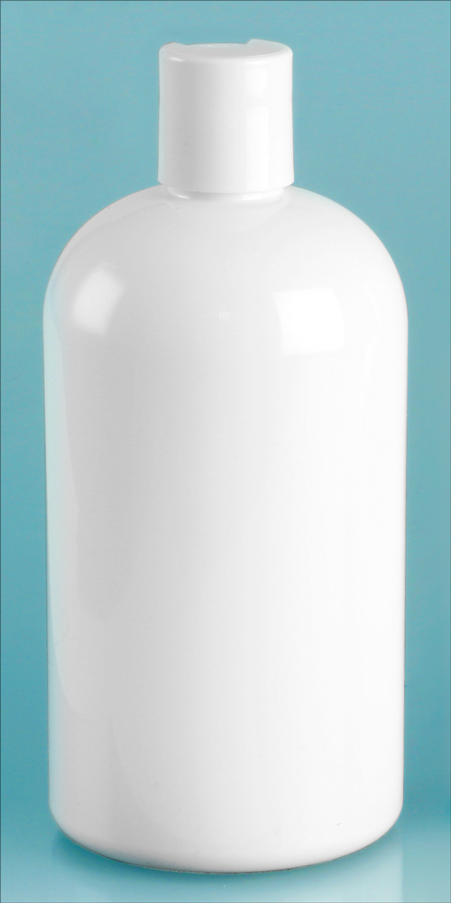 16 oz White PET Round Bottles w/ White Disc Top Caps