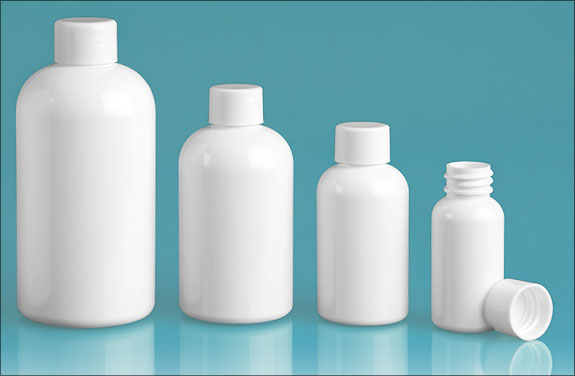 PET Plastic Bottles, White Boston Round Bottles w/ White Smooth Lined Caps
