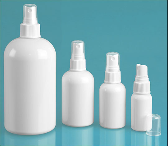 PET Plastic Bottles, White Boston Round Bottles w/ White Fine Mist Sprayers