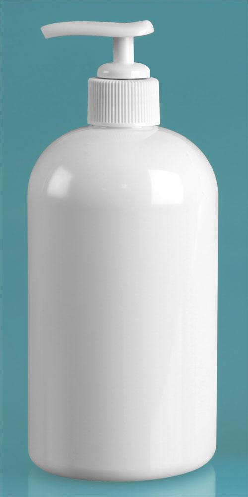 16 oz White PET Boston Rounds w/ White Lotion Pumps