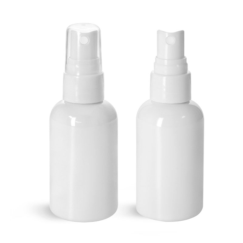 PET Plastic Bottles, White Boston Round Bottles w/ Smooth White Fine Mist Sprayers