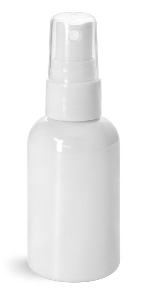 Plastic Bottles, White PET Boston Rounds w/ Smooth White Fine Mist Sprayers