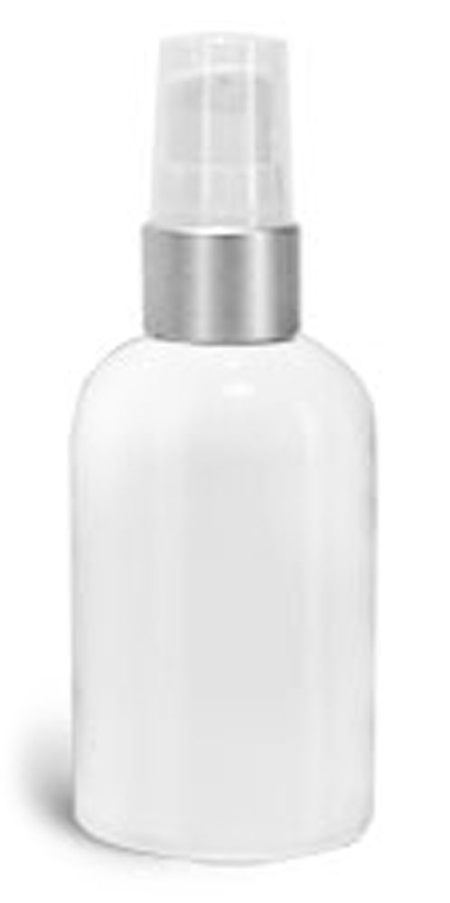 2 oz PET Plastic Bottles, White Boston Round Bottles w/ White Brushed Aluminum Pumps