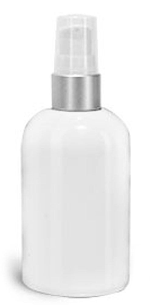 PET Plastic Bottles, White Boston Round Bottles w/ White Brushed Aluminum Lotion Pumps