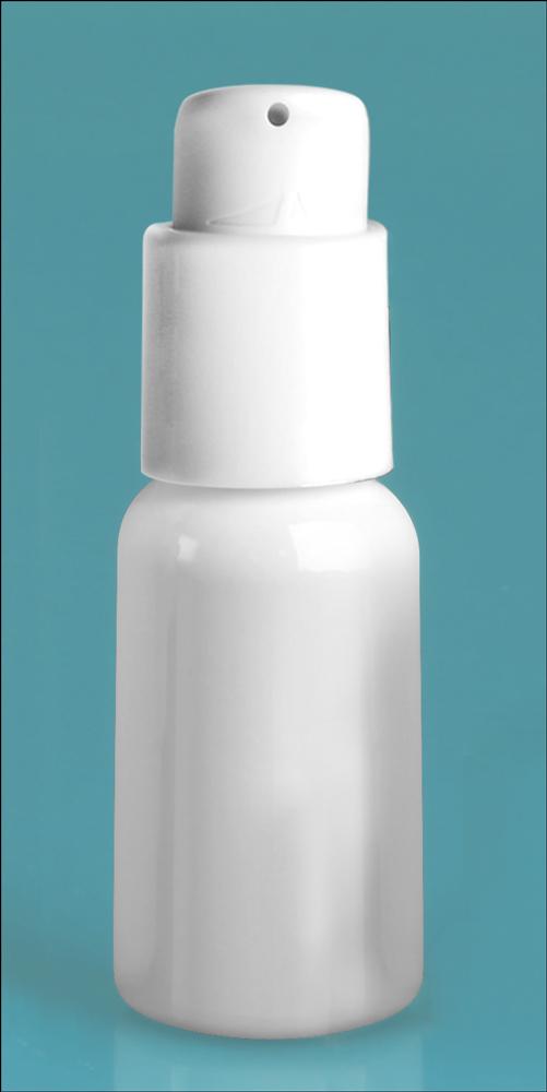 1 oz White PET Boston Rounds w/ White Treatment Pumps