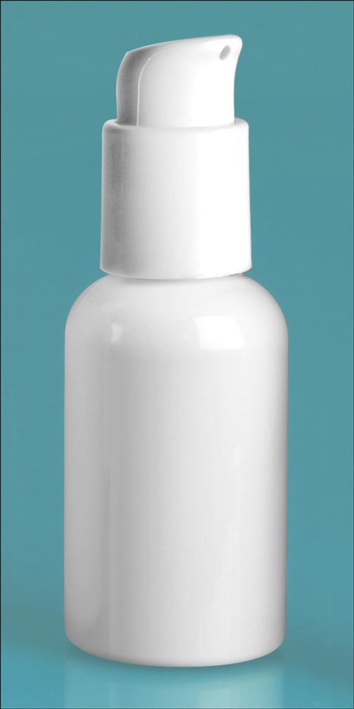 2 oz  White PET Boston Rounds w/ White Treatment Pumps