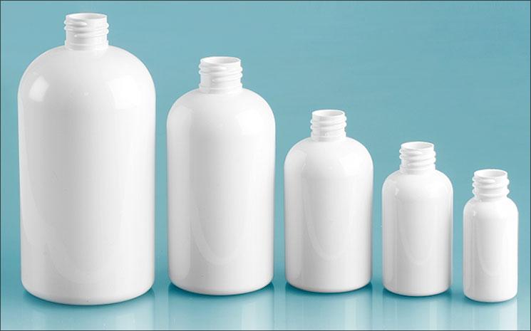 White PET Boston Round Bottles, (Bulk) Caps NOT Included