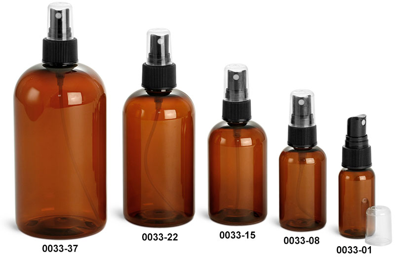 Plastic Bottles, Amber PET Boston Round Bottles w/ Black Ribbed Fine Mist Sprayers