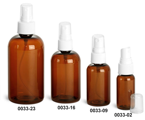 Plastic Bottles, Amber PET Boston Round Bottles With White Ribbed Fine Mist Sprayers