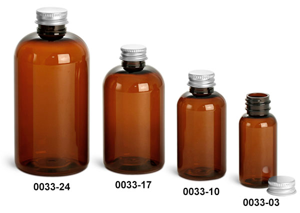 Plastic Bottles, Amber PET Boston Round Bottles With Lined Aluminum Caps