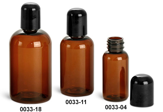 Plastic Bottles, Amber PET Boston Round Bottles With Smooth Black Dome Caps