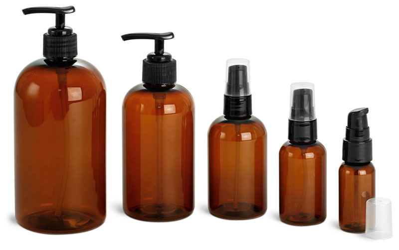 Amber Round Bottles w/ Lotion Pumps