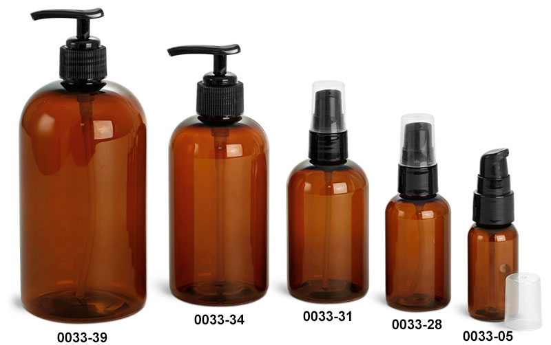 Plastic Bottles, Amber PET Boston Round Bottles w/ Black Lotion Pumps Or Treatment Pumps