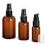 Amber PET Boston Round Bottles w/ Black Treatment Pumps