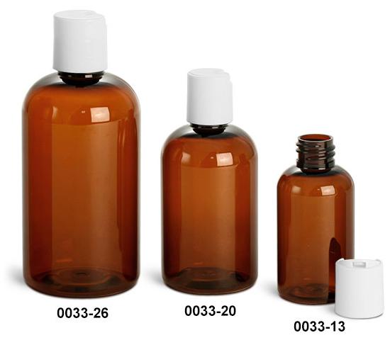 Plastic Bottles, Amber PET Boston Round Bottles w/ White Disc Top Caps