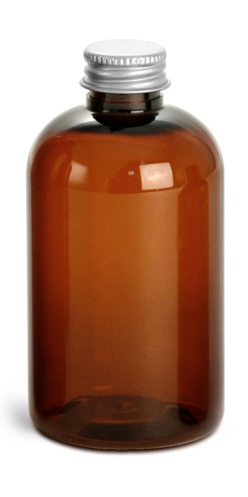 4 oz Amber PET Boston Rounds w/ Lined Aluminum Caps